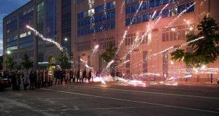 Fireworks explode during a protestagainstthe death in Minneapolispolicecustody of African-American man George Floyd, inStLouis, Missouri, U.S. June 1, 2020. Picture taken June 1,2020 REUTERS/Lawrence Bryant