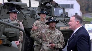 U.S. Secretary of State Mike Pompeo speaks with U.S. soldiers based in Grafenwoehr,GermanyNovember 7, 2019. Jens Meyer/Pool via REUTERS