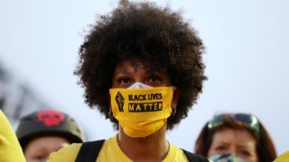 A protester with the