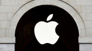 Apple logo is seen on the Apple store at The Marche Saint Germain in Paris, France July 15, 2020. REUTERS/Gonzalo Fuentes