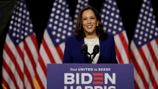 Democratic vice presidential candidate Senator Kamala Harris speaks at a campaign event, on her first joint appearance with presidential candidate and former Vice President Joe Biden after being named by Biden as his running mate, at Alexis Dupont High Sc