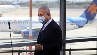Israeli Prime Minister Benjamin Netanyahu prepares to give a statement at Ben Gurion International Airport, in Lod, near Tel Aviv, Israel August 17, 2020. Emil Salman/Pool via REUTERS