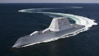 ATLANTIC OCEAN (April 21, 2016) The future guided-missile destroyer USS Zumwalt (DDG 1000) transits the Atlantic Ocean during acceptance trials April 21, 2016 with the Navy's Board of Inspection and Survey (INSURV). U.S. Navy.