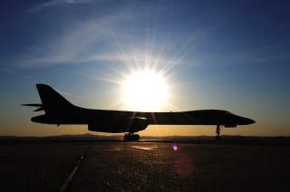 ELLSWORTH AIR FORCE BASE, S.D. -- A B-1B Lancer taxis down the runway upon completion of a training mission, Nov. 9, 2009.