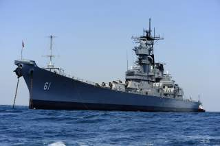 The former USS Iowa (BB 61) sits at anchor off Naval Weapons Station Seal Beach, Calif. The battleship is being prepared for berthing in San Pedro, Calif. as a floating museum.