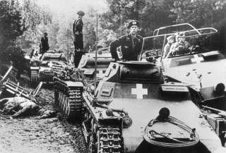Poland, on the Brda river.- Panzer soldiers on German Panzer Is and Panzer IIs, along with a medium Schützenpanzer half-track (Sd.Kfz. 251/3; with General Heinz Guderian?); 3 September 1939