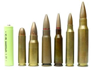 Cartridge Comparison .30 Carbine, 7.92x33mm, 7.62x39mm, 5.45x39mm, 5.56x45mm and 7.62x51mm NATO, 19 November 2019. Grasyl/Wikimedia Commons