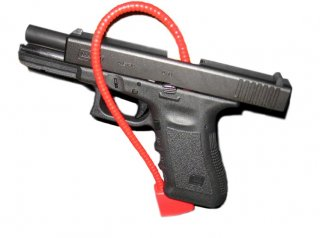 Glock 17 with trigger lock.