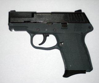 Side view of a Kel-Tec PF-9 9mm, semi-automatic, single stack magazine pistol. 18 Dec 2008. Wikimedia/Jchance.