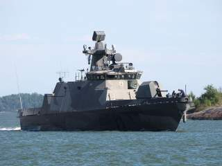 Finnish missile boat Pori (83), the fourth ship of Hamina class missile boats, in South Harbor of Helsinki.