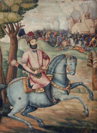 https://en.wikipedia.org/wiki/Battle_of_Karnal#/media/File:Nadir_Shah_at_the_sack_of_Delhi_-_Battle_scene_with_Nader_Shah_on_horseback,_possibly_by_Muhammad_Ali_ibn_Abd_al-Bayg_ign_Ali_Quli_Jabbadar,_mid-18th_century,_Museum_of_Fine_Arts,_Boston.jpg