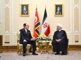 Kim Yong Nam, president of the DPRK Presidium of the Supreme People's Assembly reacts during a meeting with Hassan Rouhani, president of the Islamic Republic of Iran during their meeting in Teheran in this undated photo released on August 7, 2017 by North