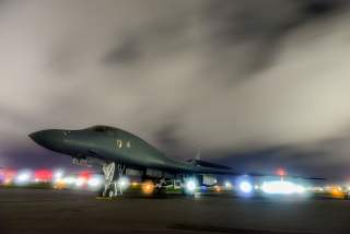 FILE PHOTO: A U.S. Air Force B-1B Lancer bomber sits on the runway at Anderson Air Force Base, Guam July 18, 2017. U.S. Air Force/Airman 1st Class Christopher Quail/Handout/File Photo via REUTERS. ATTENTION EDITORS - THIS IMAGE WAS PROVIDED BY A THIRD PAR