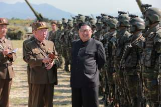 North Korean leader Kim Jong Un guides a target-striking contest of the special operation forces of the Korean People's Army (KPA) to occupy islands in this undated picture provided by KCNA in Pyongyang on August 25, 2017. KCNA via Reuters ATTENTION EDITO