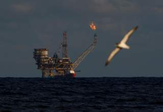 A seagull flies in front of an oil platform in the Bouri Oilfield some 70 nautical miles north of the coast of Libya, October 5, 2017. REUTERS/Darrin Zammit Lupi