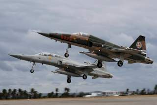 Northrop F-5 fighters take off during a military drill at Zhi-Hang Air Base in Taitung, Taiwan January 30, 2018. REUTERS/Tyrone Siu