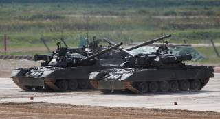 Russian T-80 U tanks perform during the annual international military-technical forum