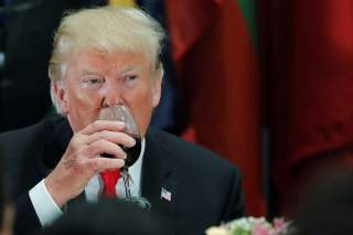 U.S. President Donald Trump sips Diet Coke from his wine glass after a toast during a luncheon for world leaders at the 73rd session of the United Nations General Assembly in New York, U.S., September 25, 2018. REUTERS/Carlos Barria