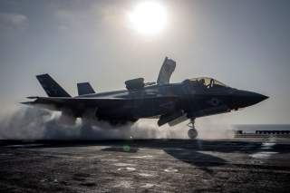 A F-35B Lightning II aircraft from the Marine Fighter Attack Squadron 211 launches from the deck aboard the amphibious assault ship USS Essex as part of the F-35B's first combat strike, against a Taliban target in Afghanistan, September 27, 2018. Mass Com