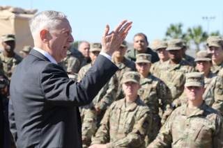 James Mattis, U.S. Secretary of Defense, speaks with troops from the 56th Multifunctional Medical Battalion, 62nd Medical Brigade at Base Camp Donna in Donna, Texas, U.S., November 14, 2018. Master Sgt. Jacob Caldwel/U.S. Army/Handout via REUTERS