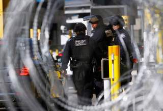 U.S. Customs and Border Protection agents participate in a test deployment during a large-scale operational readiness exercise at the San Ysidro port of entry with Mexico in San Diego, California, U.S, as seen from Tijuana, Mexico January 10, 2019.
