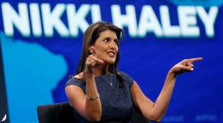 Former U.S. Ambassador to the United Nations Nikki Haley speaks at AIPAC in Washington, U.S., March 25, 2019. REUTERS/Kevin Lamarque