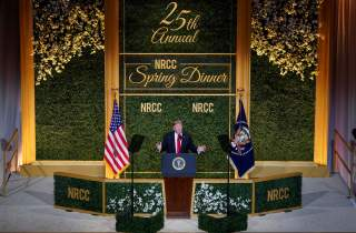 U.S. President Donald Trump speaks at the National Republican Congressional Committee Annual Spring Dinner in Washington, U.S., April 2, 2019. REUTERS/Joshua Roberts