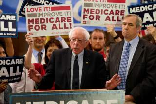 Democratic U.S. presidential candidate U.S. Sen. Bernie Sanders (I-VT) speaks at a news conference to introduce the