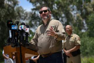Senator Ted Cruz (R-TX) addresses members of the media during a 'Border Safety Initiative' event hosted by U.S. Border Patrol in Mission, Texas, U.S., July 1, 2019. REUTERS/Loren Elliott