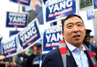 Democratic 2020 U.S. presidential candidate and entrepreneur Andrew Yang greets supporters at the New Hampshire Democratic Party state convention in Manchester, New Hampshire, U.S. September 7, 2019. REUTERS/Gretchen Ertl