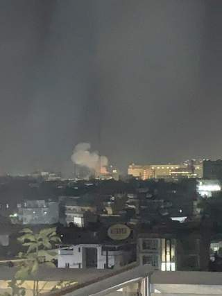 Smoke rises from the location of a blast near the U.S. embassy in Kabul, Afghanistan September 11, 2019, in this image obtained from social media. Rafi Ghulam/via REUTERS.
