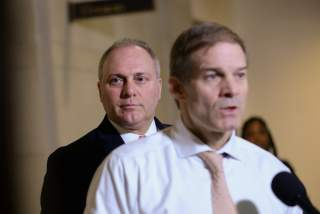 Rep. Steve Scalise (R-LA) and Rep. Jim Jordan (R-OH) speak to reporters during a break in testimony from Lt. Col. Alexander Vindman, director for European Affairs at the National Security Council, as part of the U.S. House of Representatives impeachment
