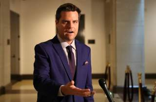 U.S. Rep. Matt Gaetz (R-FL) speaks to reporters outside the House Intelligence Committee SCIF as U.S. foreign service officer Catherine Croft, who once served as a deputy to then-Special Envoy for Ukraine Kurt Volker, testifies
