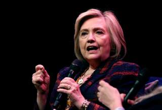 FILE PHOTO: Former U.S. Secretary of State Hillary Clinton speaks during an event promoting