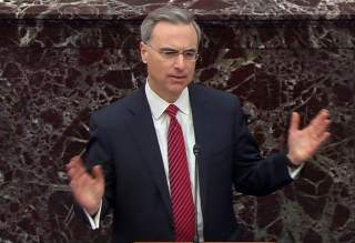 White House counsel Pat Cipollone speaks during opening arguments in the U.S. Senate impeachment trial of U.S. President Donald Trump in this frame grab from video shot in the U.S. Senate Chamber at the U.S. Capitol in Washington, U.S., January 21, 2020.
