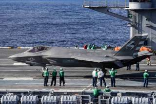 An F-35C Lightning II carrier variant joint strike fighter prepares to take off from the aircraft carrier USS Dwight D. Eisenhower in the Atlantic Ocean in this U.S. Navy picture taken October 4, 2015. Picture taken October 4, 2015.