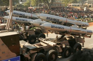 India's Brahmos supersonic cruise missiles, mounted on a truck, pass by during a full dress rehearsal for the Republic Day parade in New Delhi, India, January 23, 2006. REUTERS/Kamal Kishore/File Photo TPX IMAGES OF THE DAY