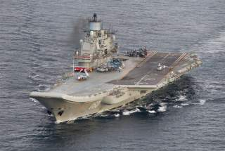 A photo taken from a Norwegian surveillance aircraft shows Russian aircraft carrier Admiral Kuznetsov in international waters off the coast of Northern Norway on October 17, 2016. 333 Squadron, Norwegian Royal Airforce/NTB Scanpix/Handout via Reuters