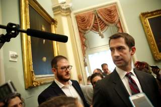 Senator Tom Cotton (R-AR) speaks after the Republican weekly policy lunch on Capitol Hill in Washington, U.S., June 19, 2018. REUTERS/Joshua Roberts