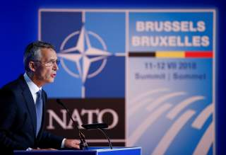 NATO Secretary General Jens Stoltenberg holds a news conference after participating in the NATO Summit in Brussels, Belgium July 12, 2018. REUTERS/Paul Hanna