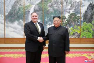 North Korean leader Kim Jong Un meets with U.S. Secretary of State Mike Pompeo in Pyongyang in this photo released by North Korea's Korean Central News Agency (KCNA) on October 7, 2018. KCNA via REUTERS ATTENTION EDITORS - THIS IMAGE WAS PROVIDED BY A THI
