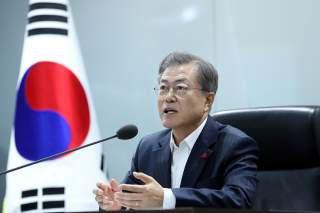 South Korea's President Moon Jae-in speaks during a meeting with senior aides at the Blue House in Seoul, South Korea, December 12, 2018. Presidential Blue House/Handout via REUTERS THIS IMAGE HAS BEEN SUPPLIED BY A THIRD PARTY.