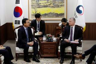 U.S. special representative for North Korea Stephen Biegun talks with South Korean Unification Minister Cho Myoung-gyon during their meeting at the Unification Ministry in Seoul, South Korea, December 21, 2018. REUTERS/Kim Hong-Ji/Pool