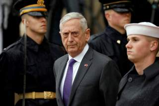 FILE PHOTO: U.S. Defense Secretary James Mattis waits to welcome Chinese Minister of National Defense Gen. Wei Fenghe to the Pentagon in Arlington, Virginia, U.S., November 9, 2018. REUTERS/Yuri Gripas/File Photo