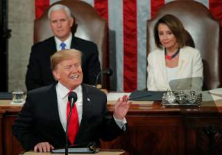 U.S. President Donald Trump gestures during his State of the Union address to a joint session of Congress on Capitol Hill in Washington, U.S., February 5, 2019. REUTERS/Jim Young