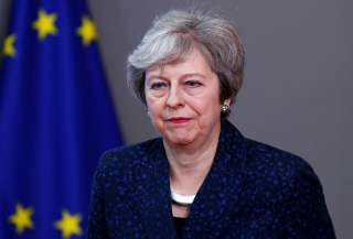 British Prime Minister Theresa May is seen at the European Council headquarters in Brussels, Belgium February 7, 2019. REUTERS/Francois Lenoir
