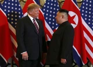 U.S. President Donald Trump and North Korean leader Kim Jong Un meet during the second U.S.-North Korea summit at the Metropole Hotel in Hanoi, Vietnam February 27, 2019. REUTERS/Leah Millis