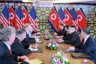 North Korea's leader Kim Jong Un and U.S. President Donald Trump smile during the second North Korea-U.S. summit in Hanoi, Vietnam, in this photo released on March 1, 2019 by North Korea's Korean Central News Agency (KCNA). KCNA via REUTERS ATTENTION EDIT