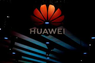 A Huawei logo is pictured during the media day for the Shanghai auto show in Shanghai, China April 16, 2019. REUTERS/Aly Song