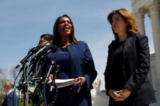 New York Attorney General Letitia James speaks to the media following oral arguments regarding the Census citizenship case, outside the U.S. Supreme Courthouse in Washington, U.S., April 23, 2019. REUTERS/Shannon Stapleton